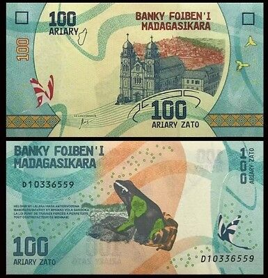 MADAGASCAR 100 Ariary, 2017, P-NEW, Frog, UNC World Currency