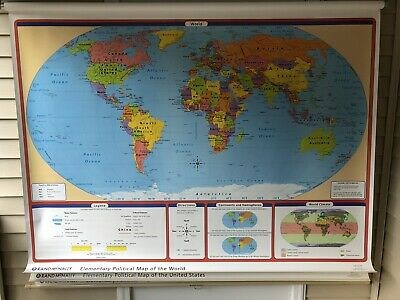 Rand McNally World, USA, States, Pull Down Classroom 3 Maps- Elementary