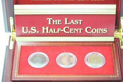 The Last US Half Cent Coins (Set of 3)  w/ Wood Case // 1807  1834  1851