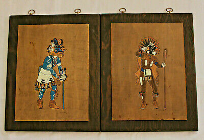 Lot of 2 Large Ray Briggs 20th CTRY Painted Tooled Leather Native American Art