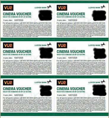 6x VUE CINEMA TICKETS - VALID UNTIL JULY 16th