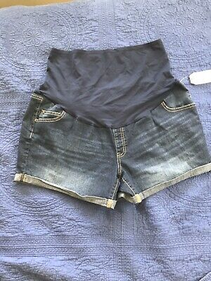 Time and Tru Maternity Over the Belly Denim Shorts, XL=16-18, NWT