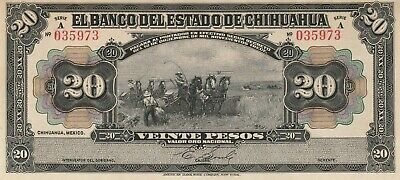 Mexico: 20 Pesos Banco del Estado de Chihuahua Dec 12, 1913.