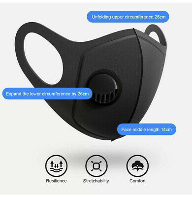 1 x Washable Face Cover Breathable Safety Mouth Face Mask With Filter Black Best