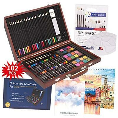 102 Piece Deluxe Art Creativity Set- 2 x 50 Page Sketch Book,1 x 24 Page