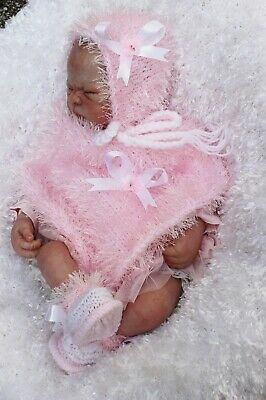 hand knitted baby girl pink / white  fur poncho  bonnet  booties .nb 0/3m