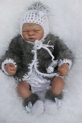 lillbees hand knitted  baby girl grey / white jacket hat  booties size 0/ 3m