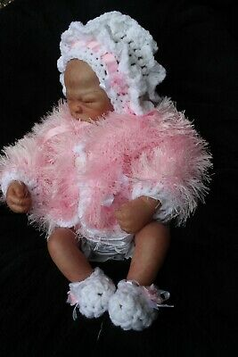 HAND KNITTED baby girl pink  fur jacket ,frilly bonnet shoes set  0/3m reborn