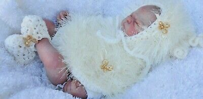 hand knitted baby girl cream  fur poncho  bonnet  booties .nb 0/3m