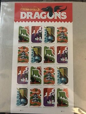 Scott#5307-10 Dragons stamps  Pane of 16  2018  MNH  Forever