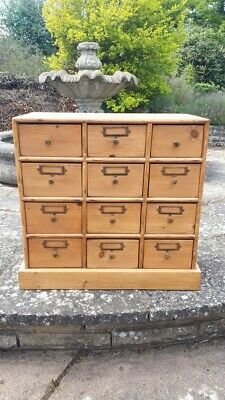 19th Century Pine Bank of Apothecary Drawers - Original/Victorian