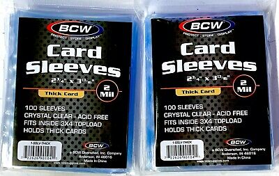 BCW Card Sleeves THICK - 2 packs of 100 each - 200 total