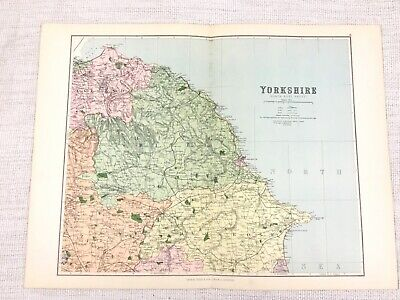 1889 Antique Map of North Yorkshire Whitby Scarborough Filey Malton 19th Century
