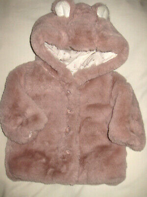 NEXT SOFT PINK BEAR EARS Hood FLUFFY Faux FUR JACKET COAT BABY TODDLER 3 months
