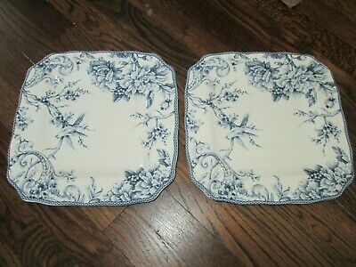 "222 FIFTH Adelaide blue & white set of 2 square dinner plates.  11"" x 11'."