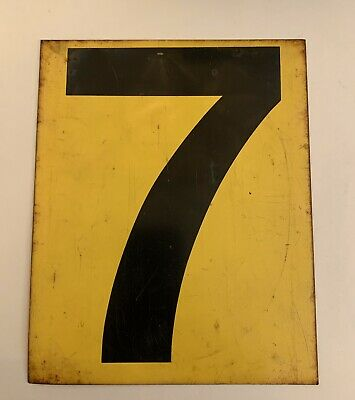 Vintage Yellow 6 7 Double Sided Metal Tin Gas Station Price Number Sign Original