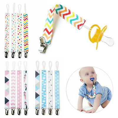 4x Dummy Clips Baby Girls Boys Soother Chain Holder Strap Pacifier Baby Care