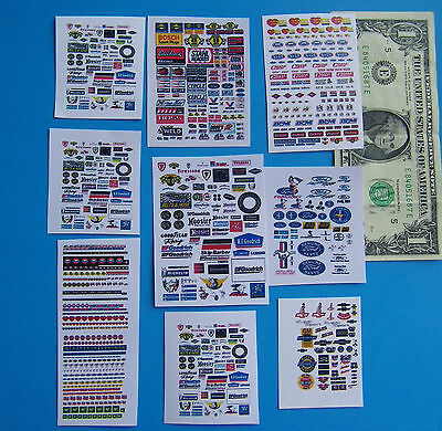 HO SLOT CAR Assorted CLEAR WATERSLIDE DECALS FORD,CHEVY,HOOKER,PENNZOIL,TIRES