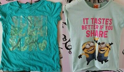 SET OF 2 Girls Age 9 George T-Shirt Turquoise Sequin Text & Green Minion Print