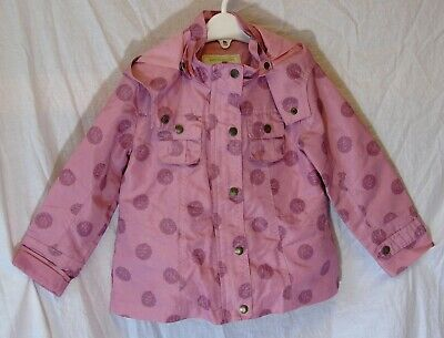 Girls Vertbaudet Dusky Pink Polka Spot Spring Summer Hooded Coat Age 3 Years