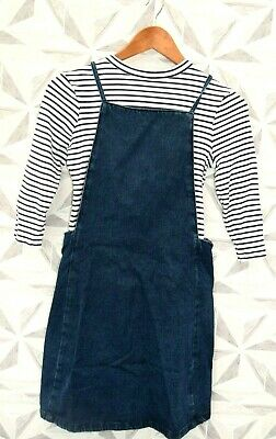 Girls Dungaree Dress And Long Sleeve Stripped Top  Age 12 Years  -  A12