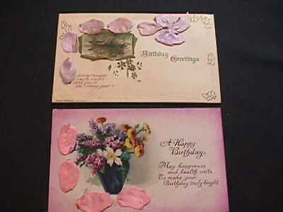 2 Birthday Greetings Postcards With Pink & Lavender Ribbons