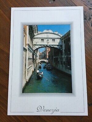 Postcard Venezia Venice Italy Bridge Of Sighs Grand Canal Boats Gondola