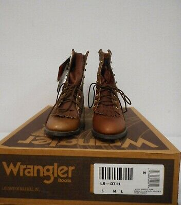 Wrangler Ladies Rugged Wear Distressed Leather Packer Boots