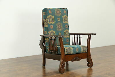 Victorian Antique Carved Oak Morris Recliner Chair, New Upholstery #33377
