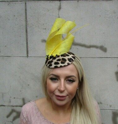 Yellow Black Gold Leopard Print Feather Pillbox Hat Fascinator Wedding Races u1