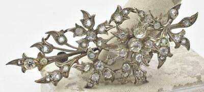 Antique Victorian Solid Silver & Rhinestone Paste large Flower leaf Pin brooch