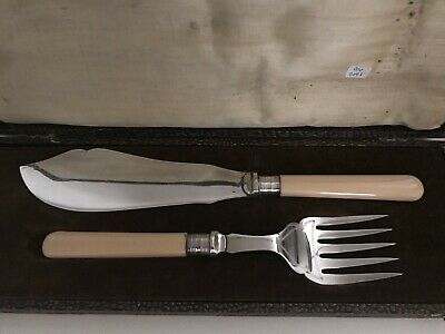 Beautiful Antique Vintage Sterling Silver Fish Server Set knife & fork With Box