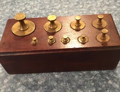 Antique Troemner Wood Block Apothecary Gram Solid Brass Weight Set. 9 Piece!