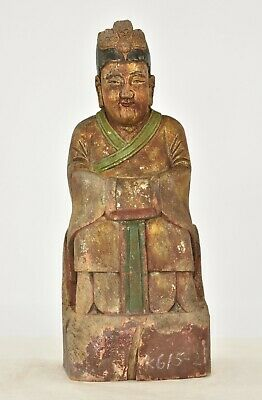 Antique Chinese Gilt Wooden Carved Statue Figure of Ancestor, w Phoenix, 19th c