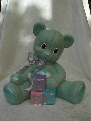 Brand New Ceramic Mint Green Large Teddy Bear Animal Figurine Nursery Ornament.