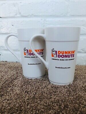 2 Dunkin Donuts 16 oz Coffee Cups Mugs Collectors Dishwasher Microwave Safe Gift
