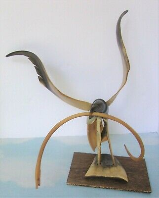 """Hand Carved Horn Bird Sculpture HAWK with a SNAKE  Wingspan 17"""""""