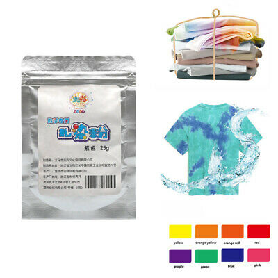 25g DIY Textile Paint Colorful Tie Dye Powder One Step Cold Water 9 Colours UK