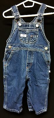 Baby Calvin Klein Boys Girls Blue Jean Denim Overalls Snap Crotch Sz 12M Months