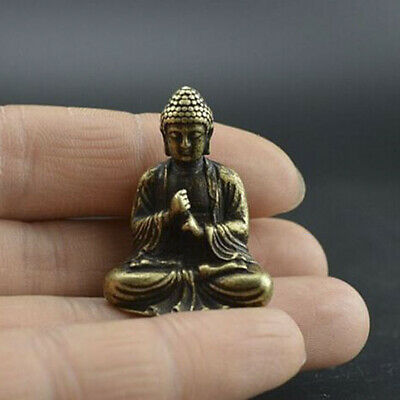 Chinese OLD pure brass hand carved sakyamuni Buddha small mini statue UK ~