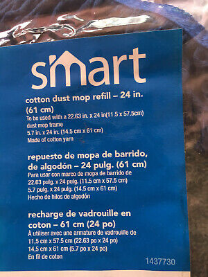 Smart Cotton Dust Mop Refill-24 Inch(61cm) Blue Deep Pile With ZipUp Tab At Back
