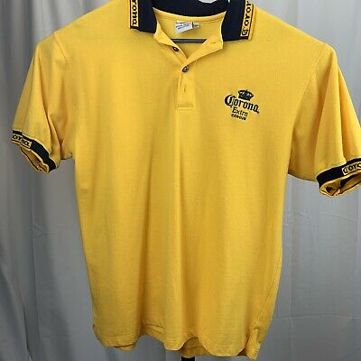 Mens Corona Extra Licensed Cancun Beer Yellow Polo Shirt XXL