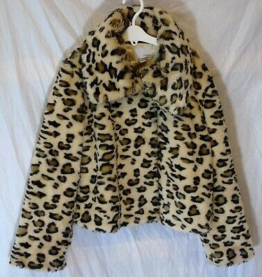 Girls Next Brown Animal Leopard Pattern Collared Faux Fur Coat Age 9-10 Years