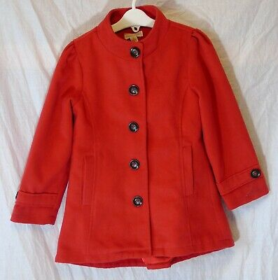 Girls Pumpkin Patch Red Fleecy Wool Feel Banded Collar Smart Coat Age 5 Years