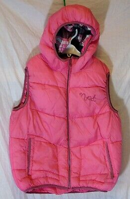 Girls Next Pink Puffa Padded Hooded Warm Gilet Bodywarmer Age 11-12 Years