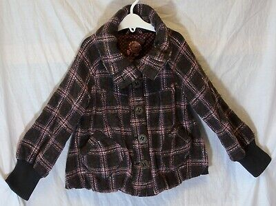 Girls Next Brown Grey Pink Sparkly Check Wool Blend Bomber Coat Age 7-8 Years