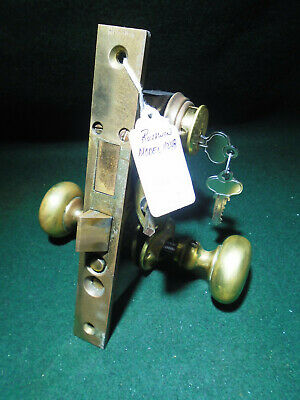"""COMPLETE RUSSWIN 11248 ENTRY LOCK NEW OLD STOCK w/CYLINDER & KEYS 7 3/4"""" (14336)"""