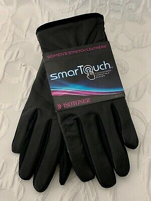 Women's ISOTONER Smart Touch Gloves Black Stretch Leather Size XL Lined New wTag