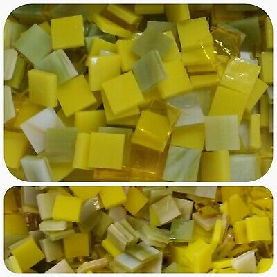 "100 - 1/2"" Mosaic Tiles Stained Glass Mixed Yellow and Chartreuse"