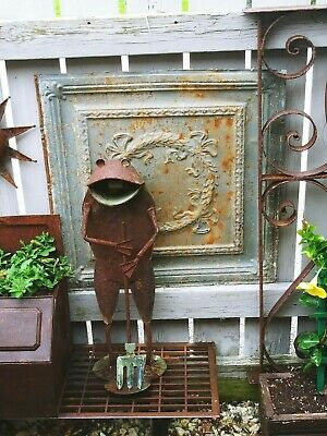 "Antique Painted Metal Tin Ceiling Tile 24"" X 24"" Sheet Panel Reclaim Salvage"